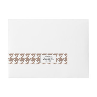 Classic Brown and White Houndstooth Pattern Wrap Around Address Label