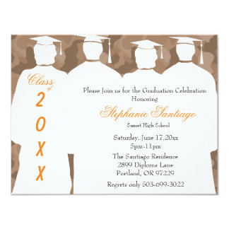 Classic Brown Camo Elegant Graduation Invitation