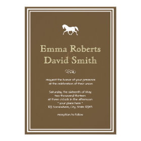 Classic Brown Damask Horse Wedding Invitations