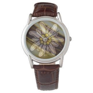Classic Brown Leather Watch EN ORO WE TRUST Reloj