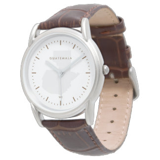 Classic: Brown: Map of Guatemala Wrist Watch