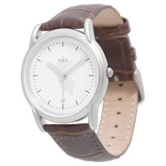 Classic: Brown: Map of Peru Wrist Watch