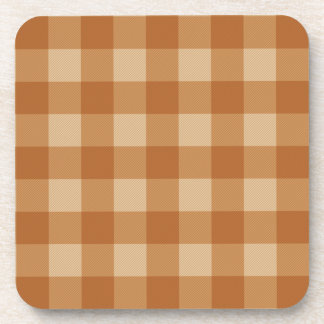 Classic brown plaid checkered cloth drink coaster