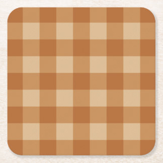 Classic brown plaid checkered cloth square paper coaster
