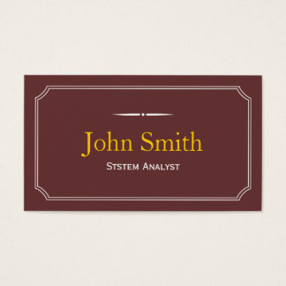 Classic Brown System Analyst Business Card