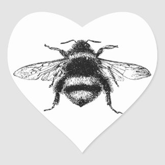 Classic Bumble Bee Heart Sticker