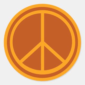 Classic Burnt Orange Peace Sign Classic Round Sticker
