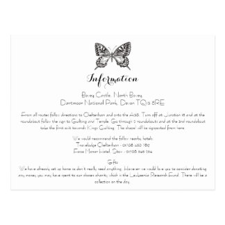 Classic Butterfly Wedding Information Card