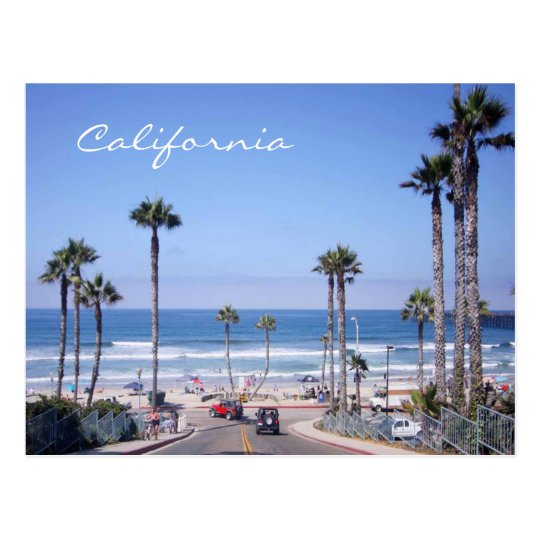 Classic California Beach Front Postcard