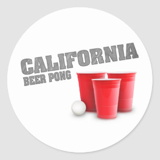 Classic California Beer Pong Classic Round Sticker