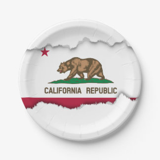 Classic California State Flag Paper Plate