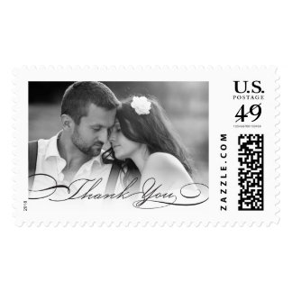 Classic Calligraphy Thank You Photo Wedding Stamps