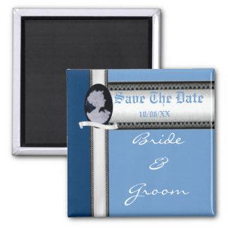 Classic Cameo (Blue) (Wedding) 2 Inch Square Magnet