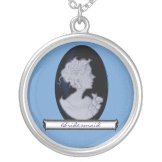 Classic Cameo (Blue) (Wedding) Round Pendant Necklace