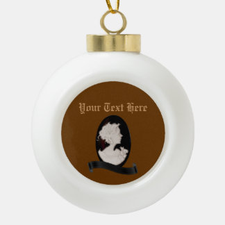 Classic Cameo (Ivory/Brown) Ceramic Ball Christmas Ornament