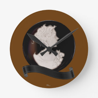 Classic Cameo (Ivory/Brown) Round Clock