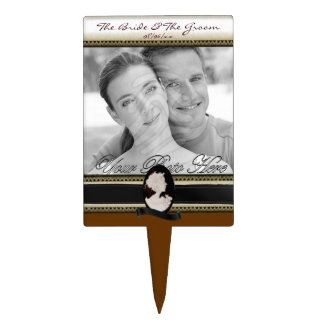 Classic Cameo (Ivory/Brown) (Wedding) Cake Topper