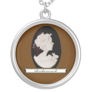 Classic Cameo (Ivory/Brown) (Wedding) Round Pendant Necklace