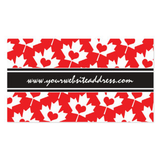 Classic Canadian Flag Maple Leaf with Heart Business Card Templates