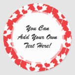 Classic Canadian Flag Maple Leaf with Heart Classic Round Sticker