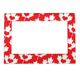 Classic Canadian Flag Maple Leaf with Heart Magnetic Picture Frames