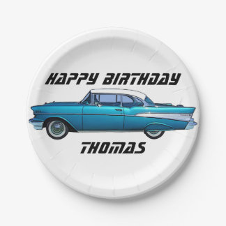 Classic car 1957 Chevy BelAire custom paper plate