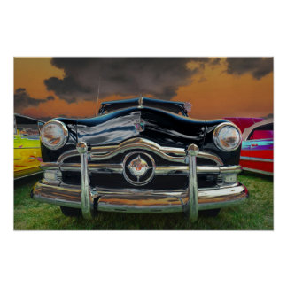 Classic Car at Sunset Poster