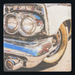 "Classic Car Beauty Stone Coaster<br><div class=""desc"">Classic american car of 1950th. Partial view of headlights,  the front wheel and a bumper</div>"