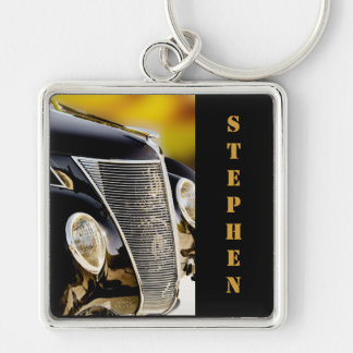 Classic Car Black Tie and Tails with Name Keychain