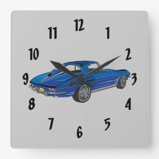 Classic Car Blue 1963 Corvette Design Wall Clock