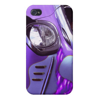Classic car: Chevrolet with flaming hood iPhone 4 Case