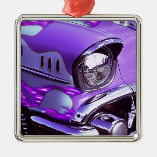 Classic car: Chevrolet with flaming hood Metal Ornament