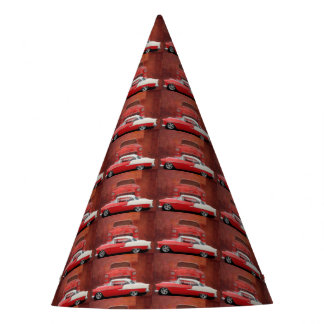 Classic Car Chevy Bel Air Dodge Red White Vintage Party Hat
