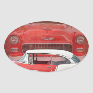 Classic Car Chevy Bel Air Red Vintage Oldtimer Oval Sticker