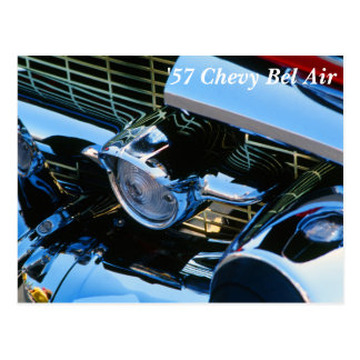 Classic Car Chrome Abstract Red 1957 Chevy Bel Air Postcard