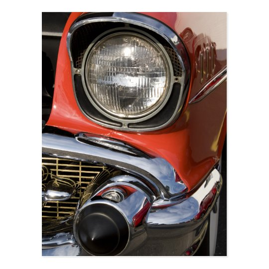 Classic Car Chrome Parts and Headlight Postcard