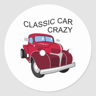 Classic Car Crazy Classic Round Sticker