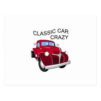 Classic Car Crazy Postcard