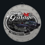 "Classic Car Custom GTO Garage Dart Board<br><div class=""desc"">This is an original rendering of a classic american muscle car created using chalks and markers.</div>"