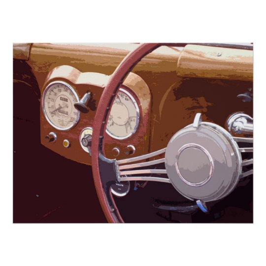 CLASSIC CAR DASHBOARD POSTER