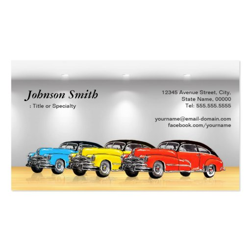 Classic Car Dealer Showroom - Unique Automotive Business Cards (back side)