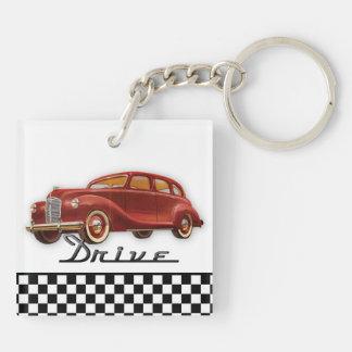 Classic Car Driver Retro Black and White Check Keychain
