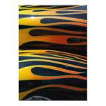 classic car flames black background 5x7 paper invitation card