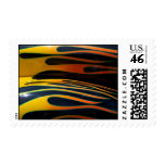 classic car flames black background postage stamp