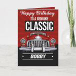 """Classic Car for a Classic Guy Birthday Card<br><div class=""""desc"""">Classic Car for a Classic Guy Birthday Card  Perfect for any male.  Car lovers. Grandfathers. Dad,  the true gentleman. Black,  Red,  White colors appeals to men.</div>"""