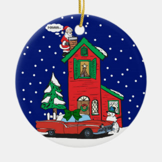 Classic Car For Christmas By Gear4gearheads Double-Sided Ceramic Round Christmas Ornament