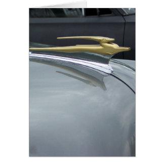 classic car golden hood ornament card