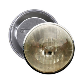 Classic car headlamp with round clear glass lens button