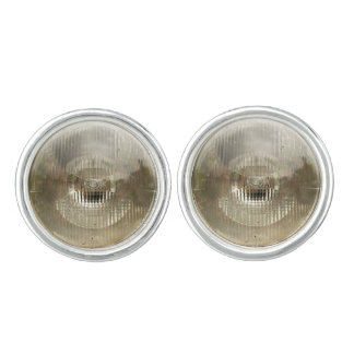 Classic car headlamp with round clear glass lens cufflinks