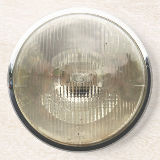 Classic car headlamp with round clear glass lens drink coaster